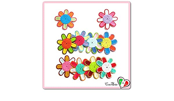 Set 10 flores de colores para aplicaciones, broche o imán de ...