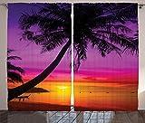 Purple Curtains Tropical Decor by Ambesonne, Palm Tree Silhouette on Tropical Beach Sunset Summertime Travel Destination, Living Room Bedroom Decor, 2 Panel Set, 108 W X 90 L Purple Orange Black Review