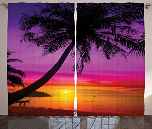 Ambesonne Tropical Curtains, Palm Tree Silhouette on Beach at Sunset Summertime Travel Destination, Living Room Bedroom Window Drapes 2 Panel Set, 108 W X 84 L Inches, Orange Purple