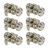6 pack Privacy Flat Round Door Locks Storage Room Bathroom Keyless Door Lockset 5766-SN-BK, Brushed Satin Nickel