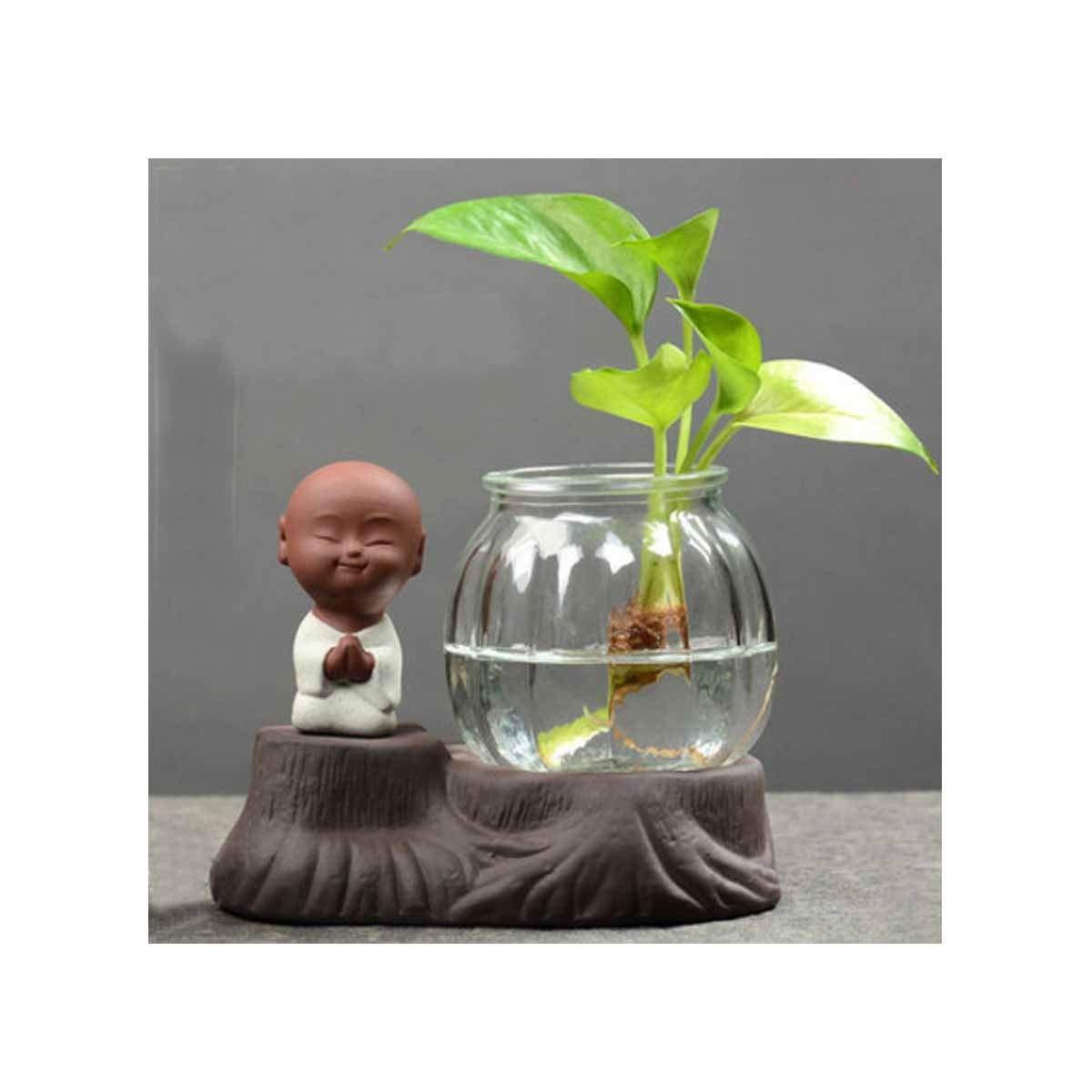 花瓶、クリエイティブ水耕植物ガラス瓶、透明花瓶コンテナ多機能伝統的な スタイル、ハッピーリトルモンクブラック (Color : Black 10) B07RRX8XZW Black 10
