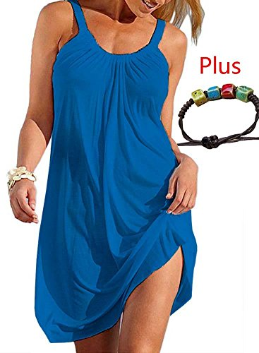 Loose Casual Summer Dresses for Women Cotton Mini Blue Fashion 2018 Beach Cover up Soft Size L