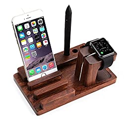 Universal desktop stand wooden Charge Dock Holder for iWatch and Docking Station Cradle Bracket for iPod, iPhone 7 8 plus x, iPad and Smartphones and Tablets, Dark Brown