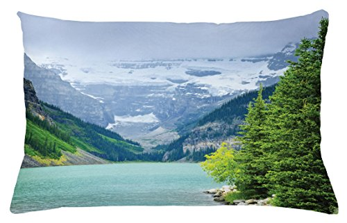 Lunarable Landscape Throw Pillow Cushion Cover, Landscape of Lake Louise and Mountains with Snows Alpine Trees in Alberta Canada, Decorative Accent Pillow Case, 26 W X 16 L Inches, Green White (Bath Canada Bench)