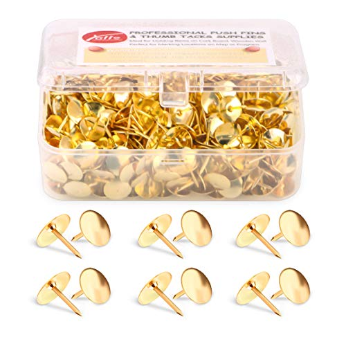 Thumb Tacks 500-count, 3/8-inch Steel Roundness Push Pins Office Tacks for Corkboard (Gold)