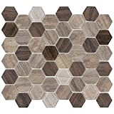 MTO0383 Classic Hexagon Brown Beige Wood Grain Glass Mosaic Tile