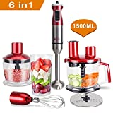MRQ 6-in-1 800 Watt Immersion Hand Blender Set with 1500ml Food Chopper, 600ml BPA Free Beaker, Egg Whisk, 600ml Cup (Red) For Sale