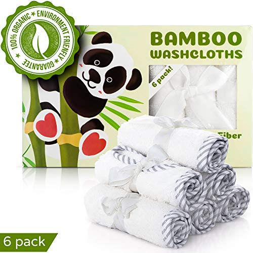 Organic Baby Washcloths - 100% Bamboo Baby Towels Set of 6 - Safe, Hypoallergenic, Ultra Soft, and Absorbent Baby Bath Towel Pack - Perfect Baby Shower Gift for Baby Boy or Girl by San Francisco Baby