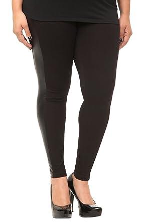 Faux Leather Stripe Leggings at Amazon Women's Clothing store ...