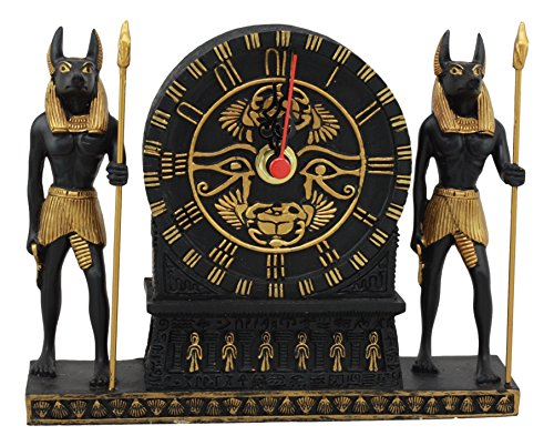 - Ebros Ancient Egyptian God Of Afterlife Anubis With Wadjet Eye Of Horus And Scarab Table Clock Statue 6.75