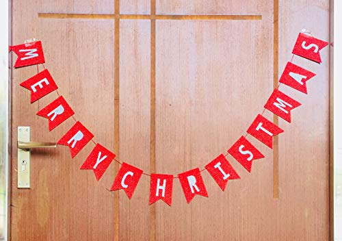 - Gifttoys Merry Christmas Glitter Red&White Banner - Merry Christmas Banner,Merry Christmas tag,Christmas décor,Christmas Decoration for Door,Christmas Decorations for House,Christmas Decoration,Merry