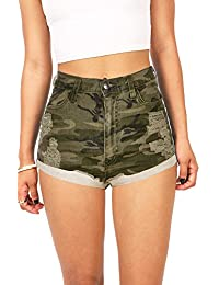 Women's Juniors High Waist Distressed Camouflage Shorts