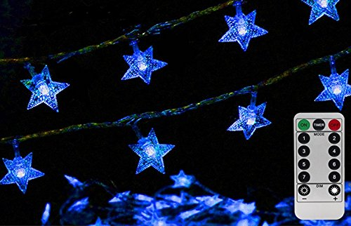 34ft Outdoor Star shape Lights LED Twinkle Lights & USB Powered &Transparent String Cable(Sky blue)