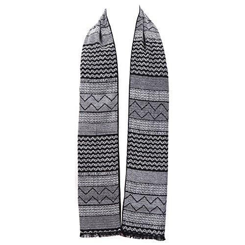 Mens Winter Cashmere Scarf - Ohayomi Fashion Formal Soft Scarves for Men(Black/Grey Stripe)