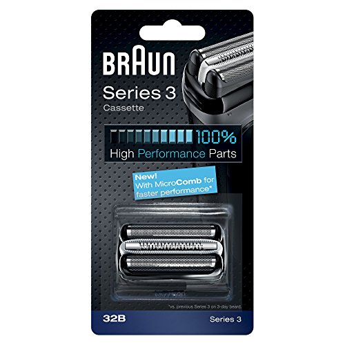 (Braun Razor Replacement Foil & Cutter Cassette 32B Series 3 320 330 340 350CC Black Shaving Heads)