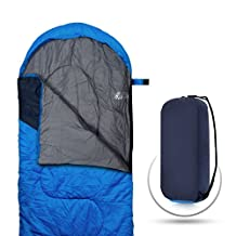CARQI Sleeping Bag, Envelope Lightweight Portable, Waterproof, Comfort With Compression Sack, Great for 4 Season Traveling, Camping, Hiking, & Outdoor Activities