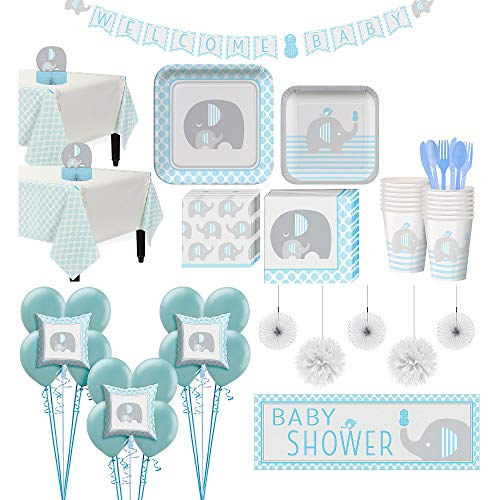 Party City Blue Baby Elephant Premium Baby Shower Kit for 32 Guests, Includes 2 Table Covers, Balloons and Banner
