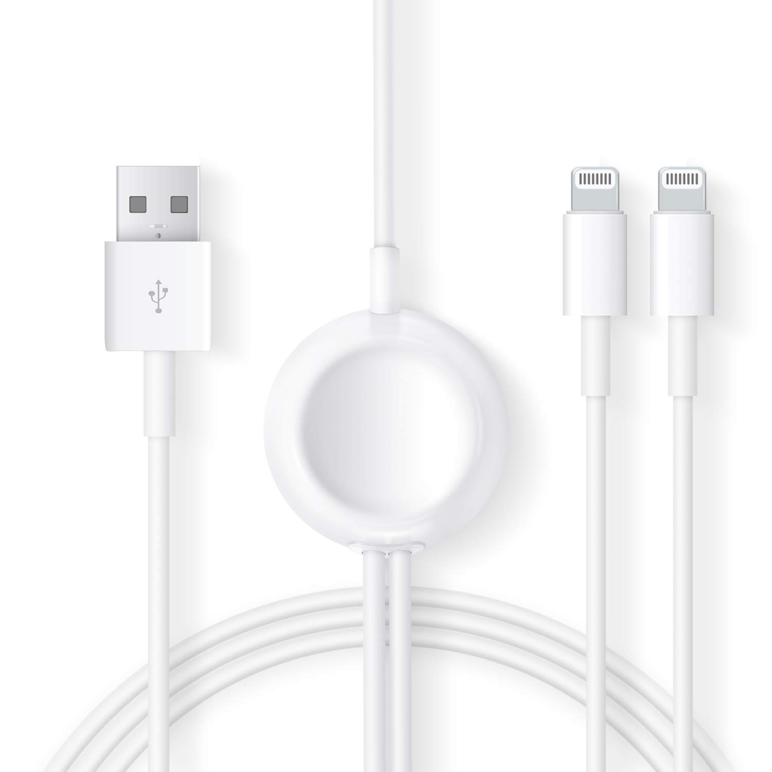 Compatible with Apple Watch iWatch Charger , 3 in 1 Wireless Fast Charger with 3.9ft/1.2m Charging Cable for Apple Watch Series 4/3/2/1,iPhoneXR/XS/XS Max/X/8/8Plus/7/7Plus/6/6Plus