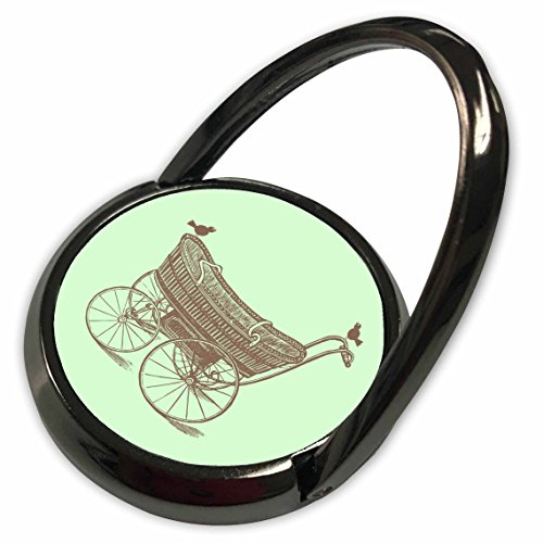 3dRose Russ Billington Nursery Designs - Vintage Baby Carriage with Birds in Mint Green and Brown - Phone Ring (phr_219372_1)