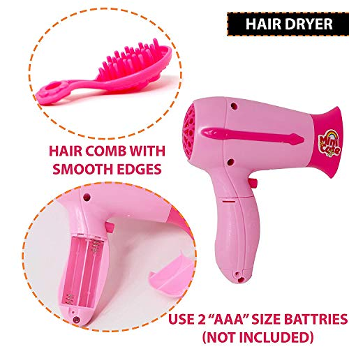 urban festivities battery operated 6 pieces household home appliances play set toys for girls with realistic sound - fan,hair dryer,vacuum cleaner,sewing machine,iron,washing machine-Pink India 2021