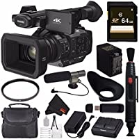Panasonic HC-X1 4K Ultra HD Professional Camcorder + 64GB SDXC Card + 67mm UV Filter + SD Card USB Reader + MicroFiber Cloth + Condenser Mic + XL Rugged Camcorder Case + Deluxe Starter Kit Bundle