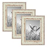 Set of 3 Picture Frames with Dimensions of 5 x 7 Inch, in White, Shabby-Chic, Vintage, Solid Wood, including Accessories/Photo Frames