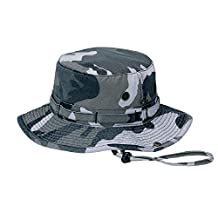 MG Men's Washed Cotton Twill Chin Cord Outdoor Hunting Hat - City Camo - Large