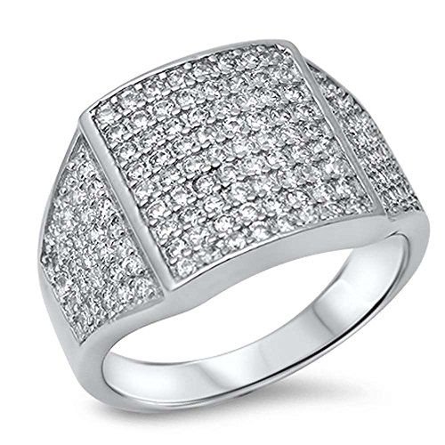 Micro Pave Ring (Men's Micro Pave Cubic Zirconia .925 Sterling Silver Ring size 10)