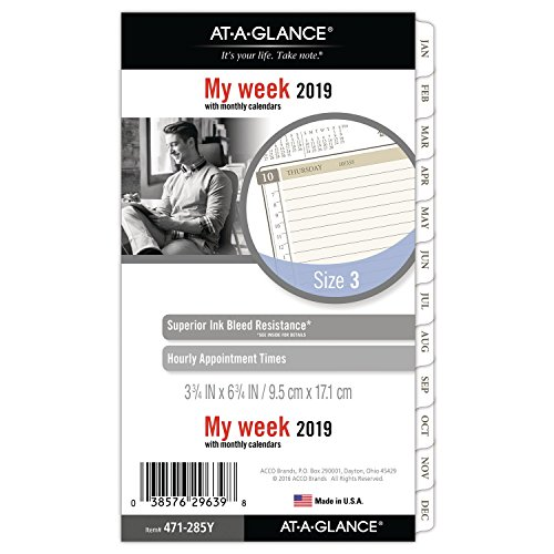 at-A-Glance Weekly/Monthly Planner Refill, January 2019 - December 2019, Pocket Size, Loose-Leaf, Size 3, Day Runner (Refill Planner)