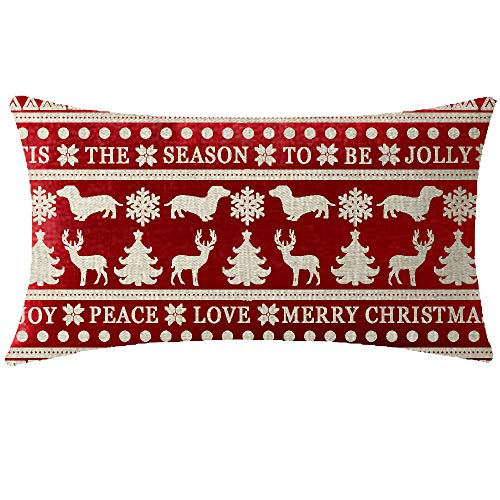 NIDITW Nice Mothers Merry Joy Peace Love Beautiful Snowflake Dachshund Dog Lumbar Red Cotton Linen Throw Pillowcase Cushion Cover Sofa Home Decorative Rectangle 12x20 Inches