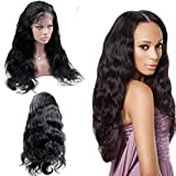Cupidlovehair Body Wave 100% Brazilian Virgin Remy Hair Full Lace Front Wigs Natural Black 1B (Hair Length 24