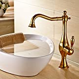 Wovier Gold Waterfall Bathroom Sink Faucet,Single Handle Single Hole Vessel  Lavatory Faucet,Basin Mixer Tap Tall Body