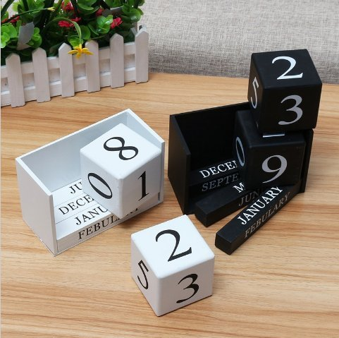 URToys 1Pcs Black/White Creative Perpetual Wooden Calendar Desktop Block DIY Yearly Planner Home Decoration Figurines Miniatures Ornaments Desk Office Stationery by URToys (Image #4)