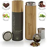 Teabloom All-Beverage Travel Tumbler - Large Capacity 17 oz / 500 ml - Insulated Thermos Mug - Eco-Friendly Bamboo - Hot and Cold Tea Infuser - Cold-Brew Coffee - Fruit-Infused Water - The Naturalist