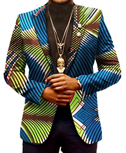 Zago Mens Casual Blazer Africa Print Dashiki Suit Jacket Coat Outwear 14 L by Zago