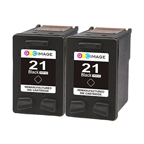 GPC Image 2 Black Remanufactured Ink Cartridge Replacement for HP 21 C9351AN C9508FN High Yield for HP FAX 3180 Deskjet D1341 D1455 F2120 F2110 F4180 F4180 D1520 3915 PSC 1401 1410 1415 1417 (Hp Inkjet 3180 Fax)