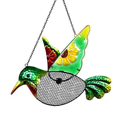 Exhart Metal Hummingbird Hanging Bird Feeder w/Metal Mesh Seed Basket - Features Sunflower Painting on Green Hummingbird w/Metal Embossing Design, Garden Art Metal Bird Feeders, 15 x 18 Inches