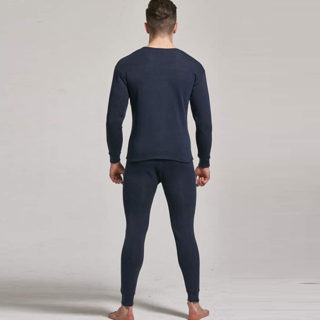 FRAUIT Set Intima Termica Uomo in Pile Maglia Uomini Calda Manica Lunga Pantaloni di Lunghezza Termici Pantalone Calzamaglia Inverno Intimo Ragazzo