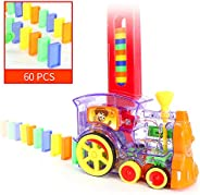 DORUOD 60 Pcs Domino Train Blocks Set, Domino Train Model with Light and Sound, Construction and Stacking Toys