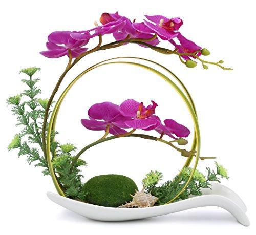 (NNEE Artificial Phalaenopsis Orchid Arrangement with Decorative Flower Pot - Purple Orchild A323 )