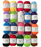 Mira Handcrafts 20 Acrylic Yarn Bonbons - 438 Yards Multicolor Yarn in Total - Great Crochet and Knitting Starter Kit for Colorful Craft - Assorted Colors - 7 PDF Ebooks with Yarn Patterns: more info