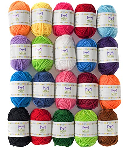 Mira Handcrafts 20 Acrylic Yarn Bonbons - 438 Yards Multicolor Yarn in Total - Great Crochet and Knitting Starter Kit for Colorful Craft - Assorted Colors - 7 PDF Ebooks with Yarn Patterns