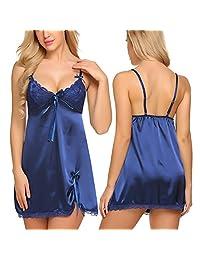 Avidlove Women Lingerie Lace Chemise Spaghetti Strap Full Slips Satin Nightgown