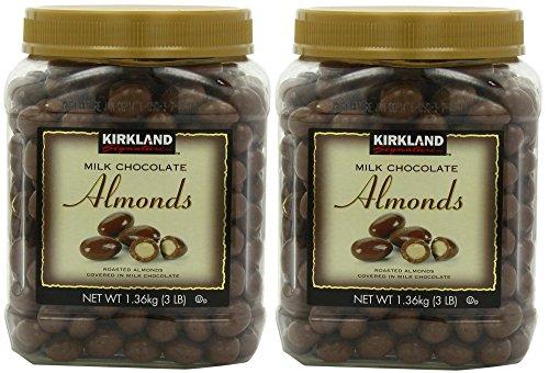 Kirkland Signature's Milk Chocolate, Almonds, 48 Ounce - 2 Jar (Dark Chocolate Turbinado Sea Salt Almonds Costco)