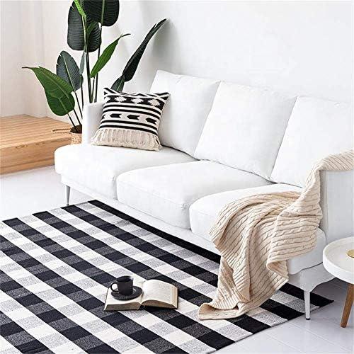 Homcomoda Area Rug Buffalo Plaid Rugs 35 x 59 Washable Hand Made Cotton Floor Mats Runner Rug Carpet Black and Creamy-White