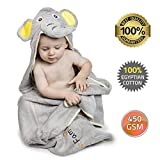 Best Luxury Hooded Baby Towel | Grey Elephant Design | Extra Soft 100% Egyptian Cotton for Newborn, Infant, Toddler & Kids | Great Gift for Boy & Girl for Home, Pool & Beach | Extra Large!