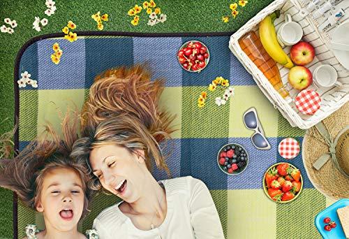 TRESKO XXL 195 x 150 cm Picknickdecke Acryl Wasserdicht | Campingdecke für Outdoor mit Tragegriff | Wärmeisoliert…