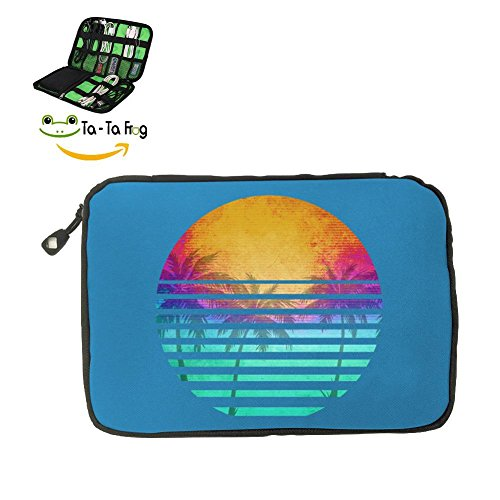 California Republic Turquoise Palm Fashion 3D Printing Electronics Accessories Organizer Bag,Portable Tech Gear Phone Accessories Storage Carrying Travel Case bag, Headphone Earphone Cable ()