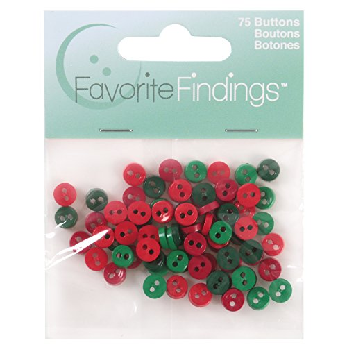 - Favorite Findings Mini Round Buttons Red & Green 75 Piece