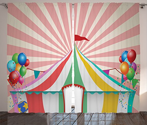 Circus Decor Curtains by Ambesonne, Old Style Vintage Circus Tent with Balloons Carnival Celebration Performance Print, Window Drapes 2 Panel Set for Living Room Bedroom, 108 W X 84 L (Carnival Themed Backdrop)